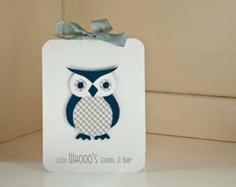 Owl Baby Shower Invitations Boy Thank You Notes Navy and Gray Grey Gingham