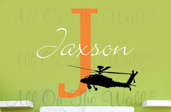 Military Wall Decal Helicopter Decals Name Wall Decal Baby Boy Nursery Decals Vinyl Wall Sticker Nursery Decor