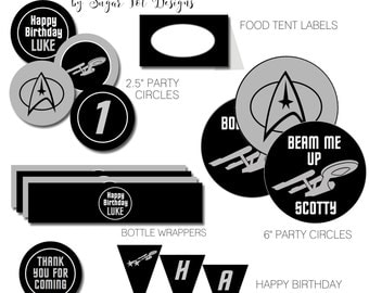Star Trek  Birthday Party Pack, Star Trek Birthday Banner, Cupcake Toppers, Favor Tags, Food labels - PRINTABLE