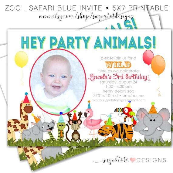 Zoo, Jungle Safari Themed, Party Animals Birthday Invitation, Party Animal Party Invite - PRINTABLE