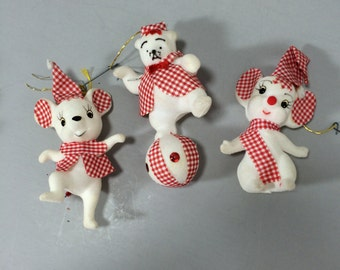 Vintage Flocked Christmas Tree Ornaments, 2 Flocked White Mice and 1 Flocked Dancing Bear on Ball, Dressed In Red Gingham for Christmas Tree