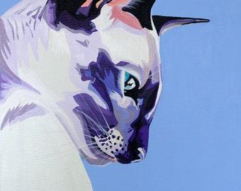 Blue Siamese Cat Print