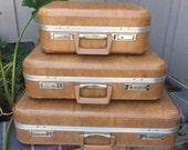 1970's Vintage Brown Suitcase Set