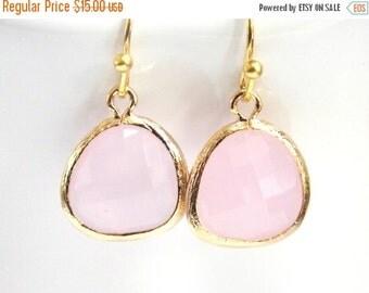 SALE Pink Earrings, Glass Earrings, Gold Earrings, Dainty, Petite, Light Pink, Bridesmaid Earrings, Bridal Earrings Jewelry, Bridesmaid Gift