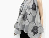 Nuno felted scarf, silk and wool, gray