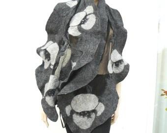 Felted Scarf wool handmade scarf grey