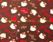 W075C  - 140cmx100cm Vinyl Waterproof Fabric - Lovely kitty,heart,star and cherry - brown