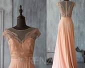 2016 Peach Bridesmaid dress, Long Wedding dress, Cap Sleeves Party dress, Jewel Mesh Scoop Formal dress, Party Dress floor length (G030A)