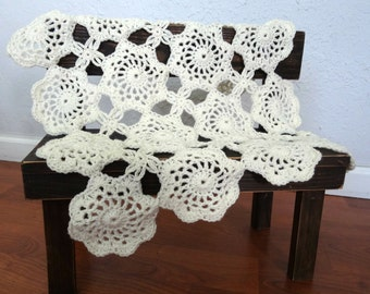 Ivory Lace Mini Blanket/Wool Mat Photo Prop, Cream Crochet Baby Blanket, READY TO SHIP
