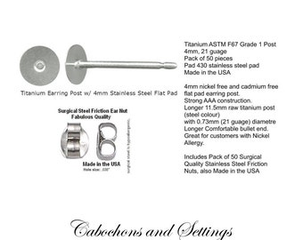 50 Titanium Post Earring Studs 4mm Surgical Steel Pad AAA Quality Made in USA  - Ships from AUSTRALIA