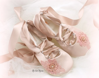 Ballet Flats, Flower Girl, Rose, Blush, Pink, Girl Flats, Confirmation, First Communion, Satin Flats, Bat Mitzvah, Ballet Slippers, Elegant
