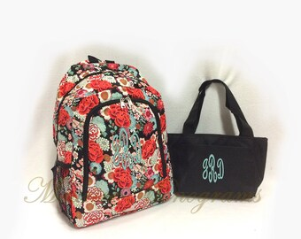 Personalized Floral Backpack and Lunch Tote Set Full Size Bookbag and Lunch Tote with Monogram FREE Flowers in red & coral
