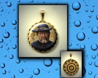 Father Damien of Molokai Patron Saint of Leprosy HIV, AIDS, and outcasts Hand pressed CABOCHON in Brass Charm / Pendant