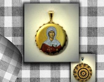 St Evanthia Orthodox icon flat button CABOCHON in Brass Charm / Pendant