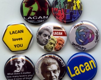 "Jacques LACAN French psychoanalyst and psychiatrist Set of 9 Hand Pressed Pinback 1"" Buttons Badges Pins"