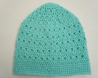 Turquoise Blue Lacy Crochet Beanie Light Weight Beanie Aqua Blue Womens Crocheted Hat Womens Beanie Teen Girls Beanie (HAT103 Turquoise)