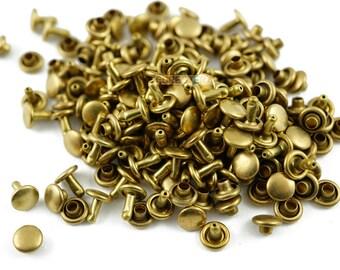 Size: 6*5mm Brass Material Double Cap Round Rapid Rivet Punk Rock Leathercraft Rivet 6*5mm [Cap Diameter*Shank length] (TR-RI6x5)