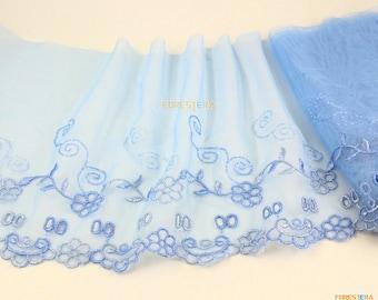 Terylene Lace Trim Blue Tulle Lace Trim Floral Embroidery Lace Trim 15cm Width -- 2 Yards (LACE301)