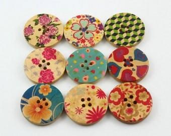 1 Set 45 Pieces 30mm Flower Painted Wood Buttons Floral Assortment Buttons (ZH38)