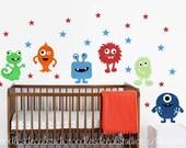 Monster wall decal, Monster Fabric Decals, Nursery Monster Sticker, Reusable Monster Decals, Boys Monster Art, Peel and Stick Monster Decals