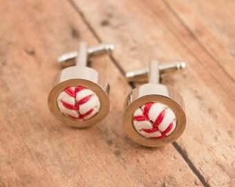 Game Used Baseball Cufflinks - Choose your favorite team!
