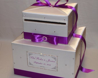 White and Royal Orchid/Magenta Wedding Card Box-crystal accents