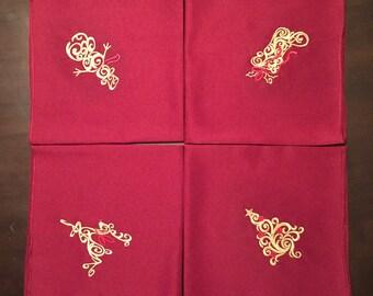 Embroidered Christmas Cloth Napkins - set of 4