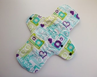 12 inch cloth pad - cloth menstrual pad - mama pad - heavy flow pad - plus size cloth pad - teal retro cassette tape flannel - made to order