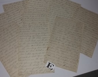 E Vintage paper supplies ephemera lot 9 pages old writing handwritten letter correspondence
