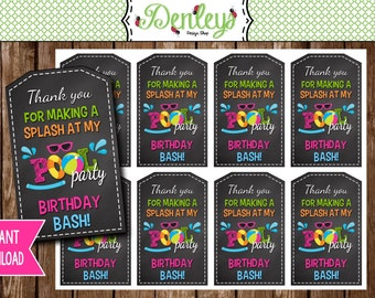 INSTANT DOWNLOAD: Pool Party Thank You Tags