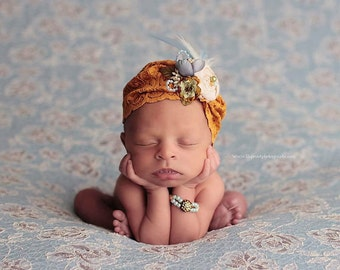 Mustard Yellow, Coneflower Blue and Ivory Newborn Slouch/Turban Hat Photo Prop