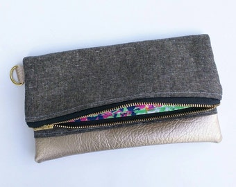 Small black and gold clutch with floral interior