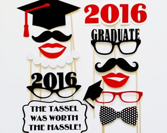 Graduation Photo Booth Props . Class of 2016 . Graduate Photo Props