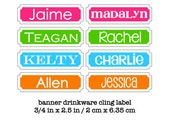 Personalized Color Pop Drink Labels with Names - Removable and Reusable - Glass Cling Labels / Drink Marker