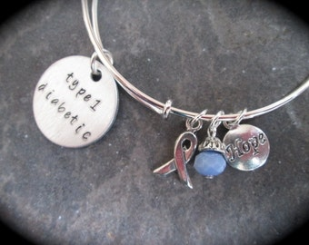 Type 1 Diabetic Adjustable wire bangle bracelet with Blue Crystal Silver Ribbon and Hope Charms Diabetes Awareness Medical Alert