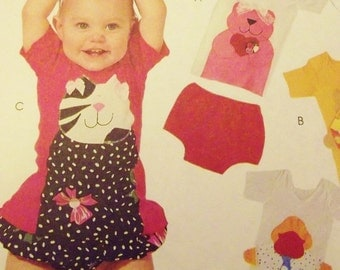 Baby Girl Clothes Pattern, Animal Appliques, T Shirts Shorts, Bloomers, Diaper Covers, All sizes Infants S to XL Infants McCall's 6598 uncut