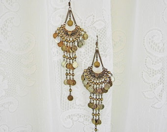 Chandelier Earrings, Antique Brass Disks and Beads, Shoulder Duster, Vintage, Boho, Gypsy, Belly Dance, French Earwires