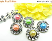 ON SALE 5 Shiny Pearl Rhinestone Buttons /  Buttons / Plastic Acrylic Easter Pearl Buttons W/ Surrounding Rhinestone-25mm 2997.