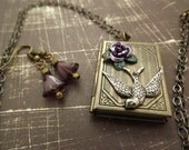 Victorian Sparrow on Book Locket Necklace with matching Earrings
