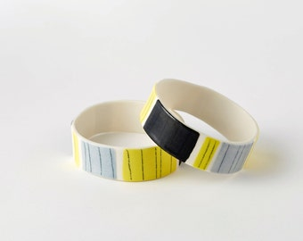 Grey and Yellow Porcelain Bangle