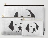 Labrador Dog Breed Pouch, Zippered Lab Bag, Black & White Purse, Dog Pencil Case, Coin Purse, Accessory Bag, Organizing Bags, Dog Treat Bag