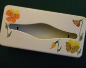 """Vintage Tissue Holder or Dispenser 1960s White painted metal with Hand Painted Pansies in yellow, orange, rust, olive and green, """"Ransburg"""""""