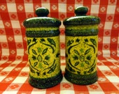 VINTAGE  Salt and Pepper Set - 1950s/60s Ceramic - Look like Jars with lids , tall Lime and Hunter Green speckled, design on front, no mark