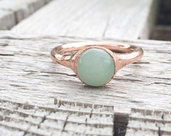 Green Aventurine Ring | Electroformed Mineral Jewelry | Raw Stone Jewelry | Raw Stone Ring | Green Aventurine Jewelry | Unisex Jewelry