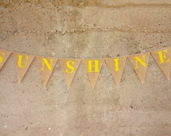 Sunshine Burlap Banner Glittered Yellow