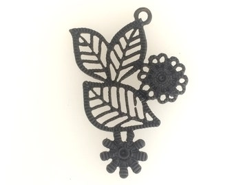 Painted black medal charm:item # 2518