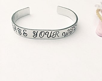 Embrace Your Wild Cuff - Hand Stamped Cuff - Motivational Cuff - Quote Cuff - Positive Quote - Hand Stamped Jewelry - Gift For Her