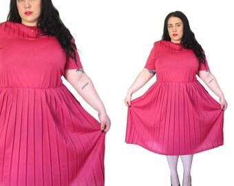 Plus Size 1980's Dress l Hot Pink Pleated Dress l Size 1X l Vintage Dress