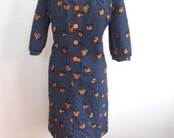 l SALE l Vintage 1970's Dress l  Navy Floral Poly Dress l Size Large l Vintage Dress