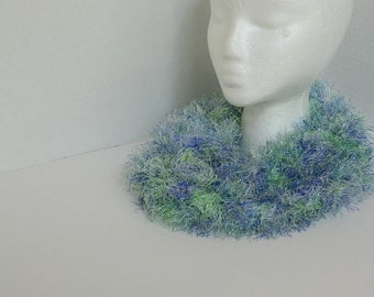 Blue and Green Knit Scarf - Infinity Scarf - Knitted Cowl - Womens' Accessories - Fluffy Blue Scarf - Girls' Teens Ladies Cowl - Fun Fur